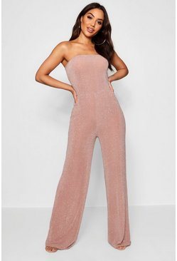 Nude Strapless Wide Leg Sparkle Jumpsuit