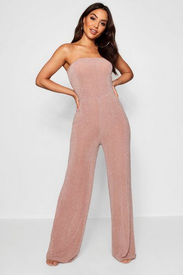 Womens Nude Strapless Wide Leg Sparkle Jumpsuit