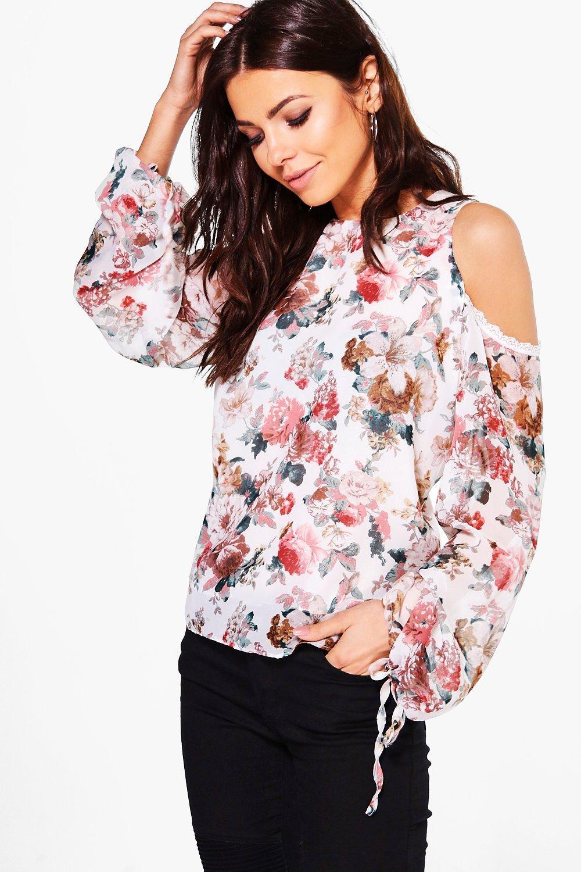 finest selection 0a703 5afd1 lucy blusa floreale con orlo di pizzo e spalle scoperte | Boohoo