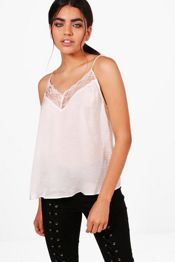 Womens White Lace Woven Trim Cami