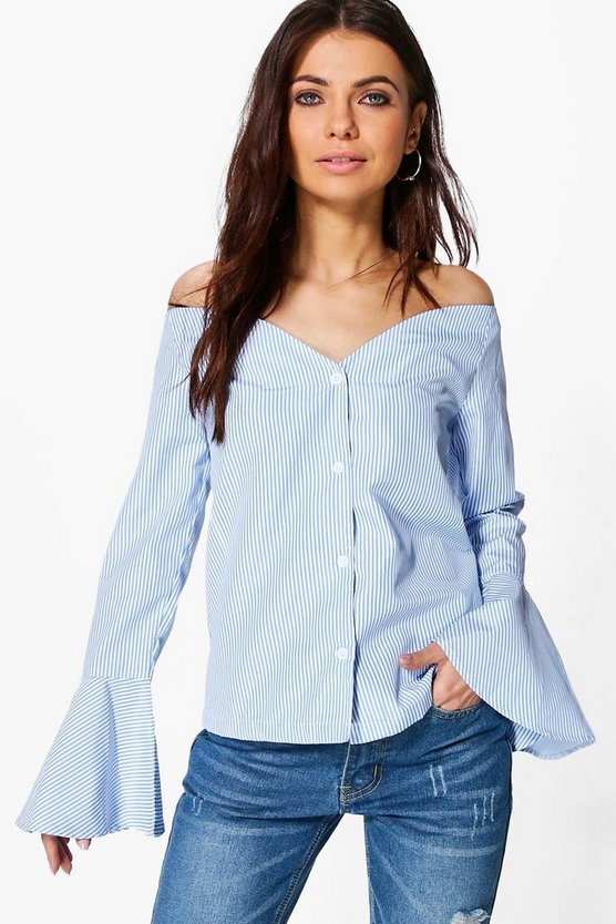 Kayla Striped Bardot Shirt
