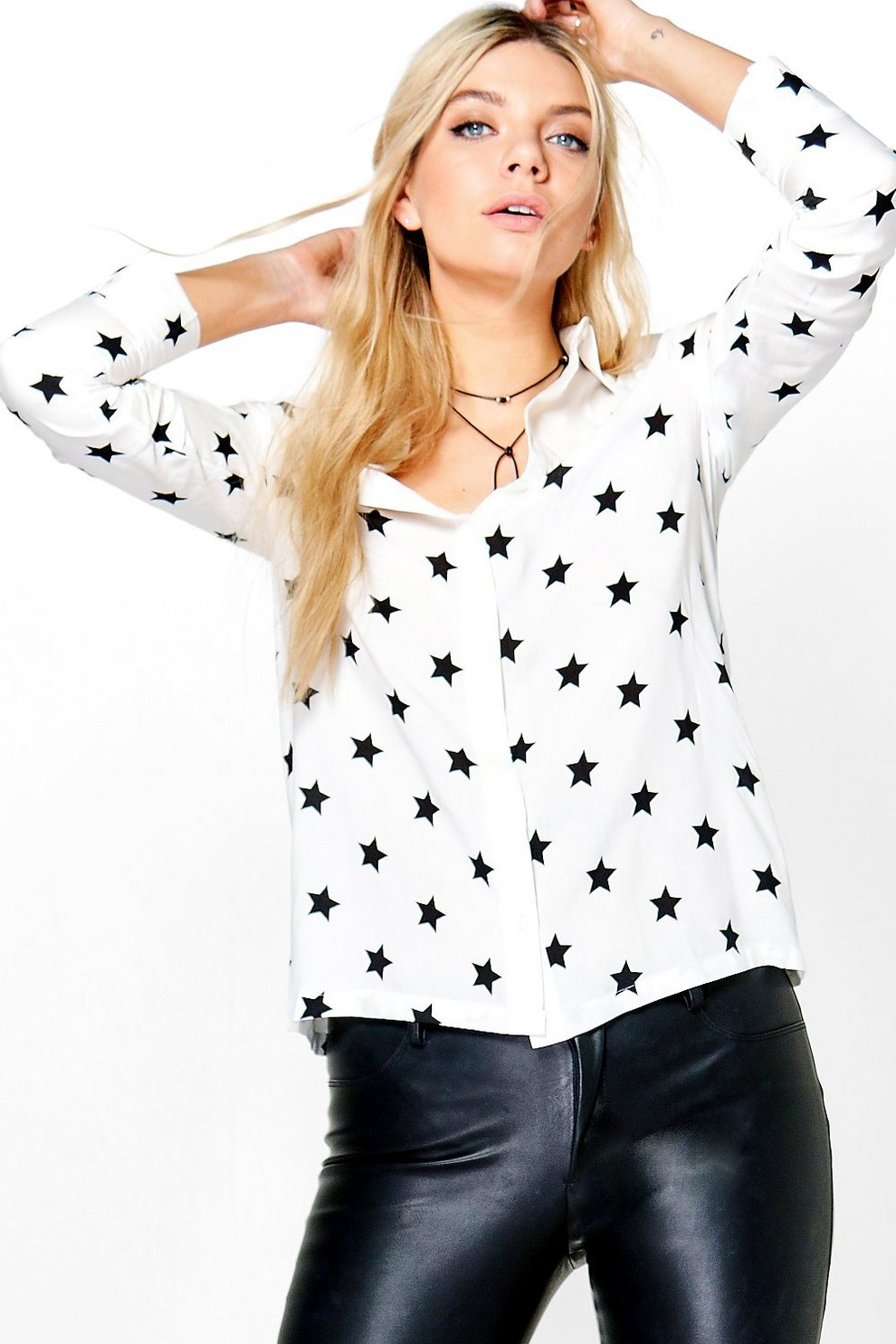 9ccd642502c1 Erin Star Print Western Shirt | Boohoo