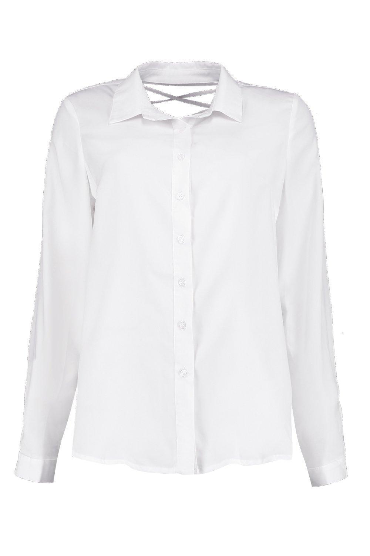 Boohoo-camisa-con-cordones-por-detras-savannah-para-Mujer