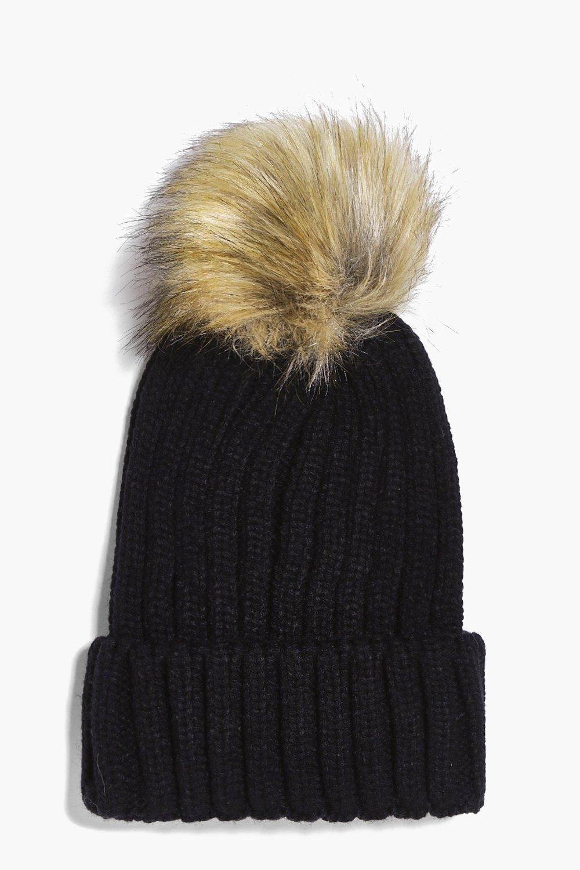 778694748c8 Detachable Faux Fur Pom Beanie Hat black