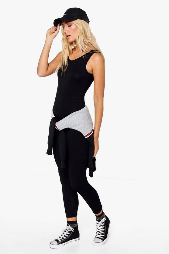 Womens Black Basic Jersey Unitard
