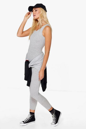 Womens Grey Basic Jersey Unitard