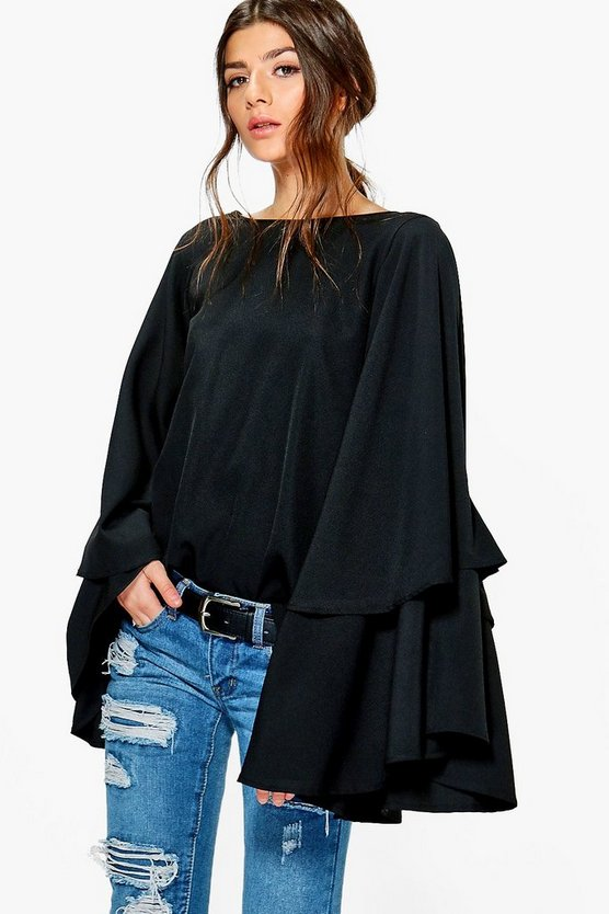 Womens Exaggerated Tiered Sleeve V Back Top