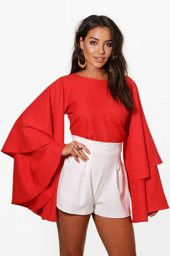 Womens Red Exaggerated Tiered Sleeve V Back Top