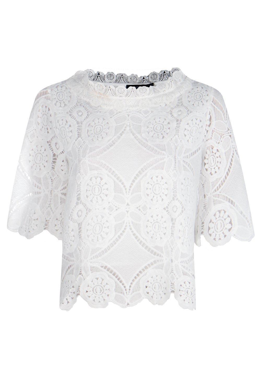 Top Blanco crochet y encaje de pIxwrq7x