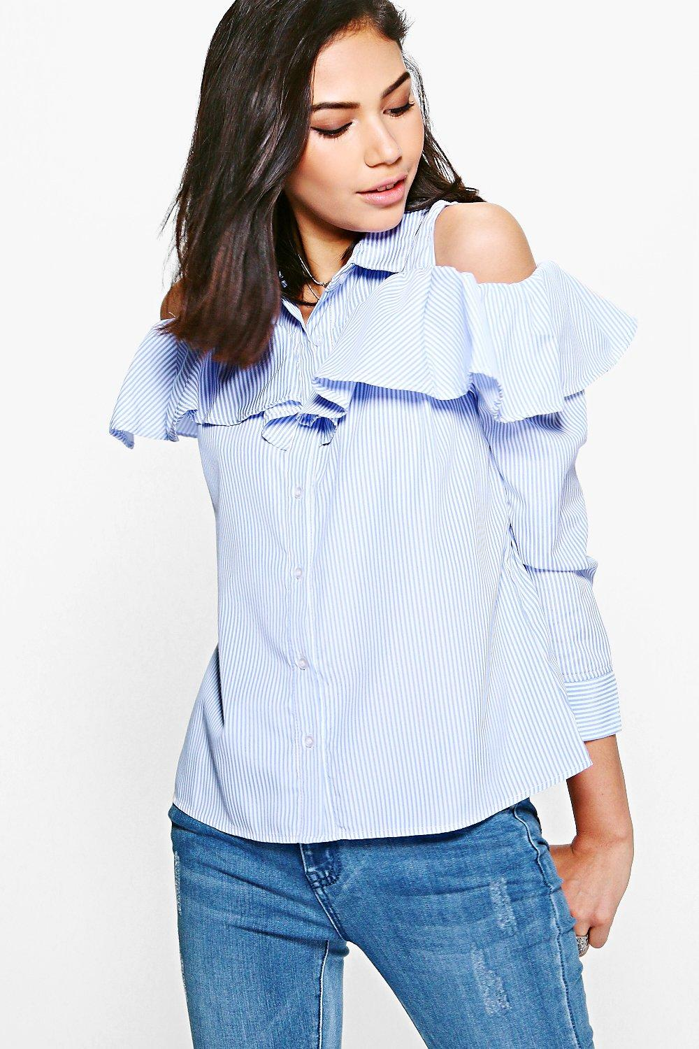 18bcc4fec30739 Georgia Ruffle Striped Cold Shoulder Long Sleeve Shirt. Hover to zoom