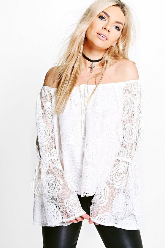 Laila Rose Crochet Lace Bardot Top
