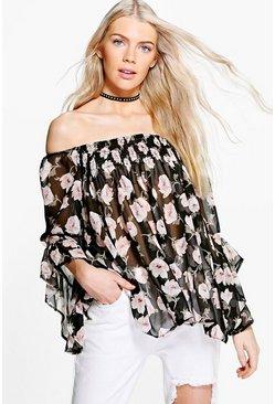 Womens Black Suzzie Rose Print Frill Sleeve Bardot Top