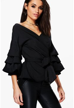 Black Ruffle Tiered Sleeve Wrap Top