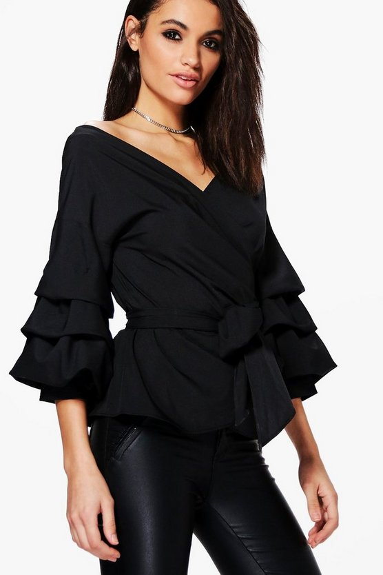 Ruffle Tiered Sleeve Wrap Top