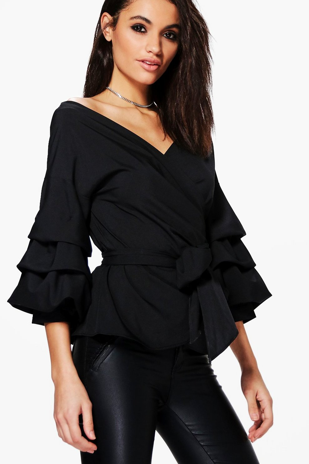 0a8978fa3bc967 Ruffle Tiered Sleeve Wrap Top
