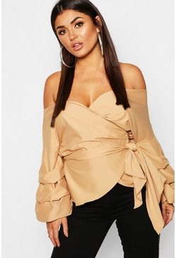 Camel Ruffle Tiered Sleeve Wrap Top