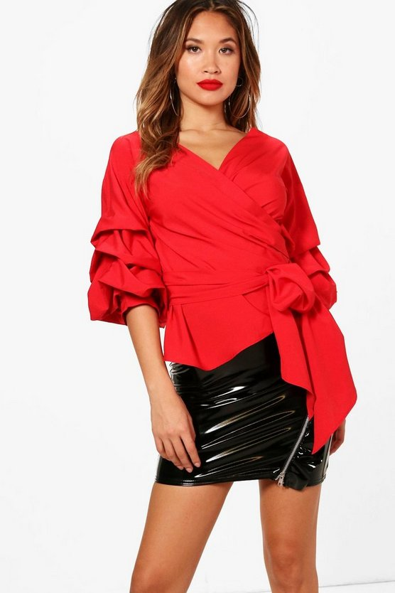 Womens Red Ruffle Tiered Sleeve Wrap Top
