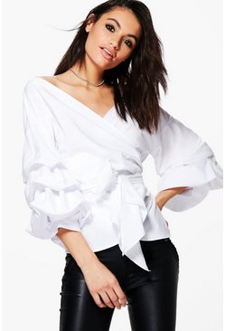 Womens White Ruffle Tiered Sleeve Wrap Top