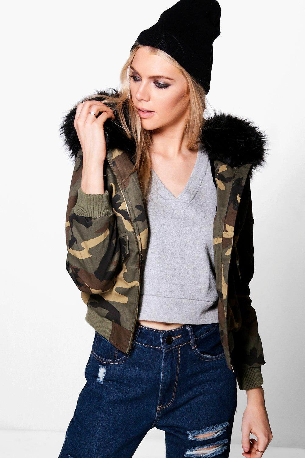 35e4bc6cb Alice Camo Bomber With Faux Fur Hood | Boohoo