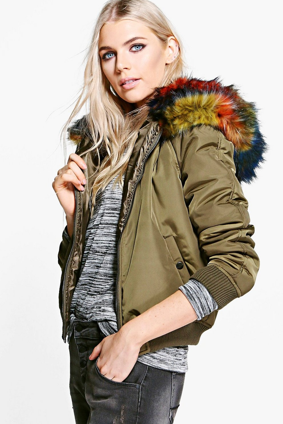 aabc58d33fc Brooke Multicoloured Faux Fur Hooded Bomber