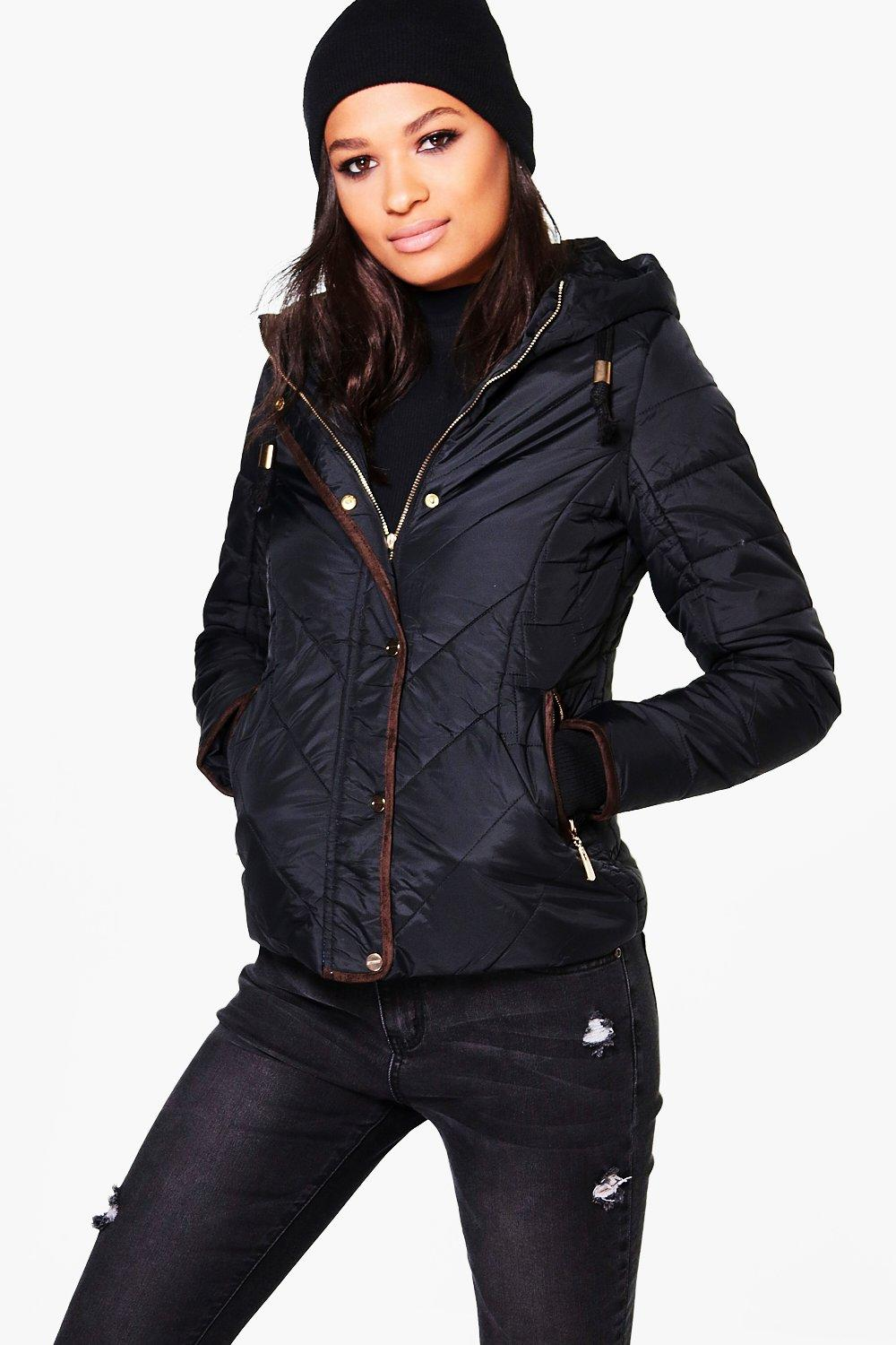Abigail Padded Hooded Jacket With Faux Fur Lining Boohoo