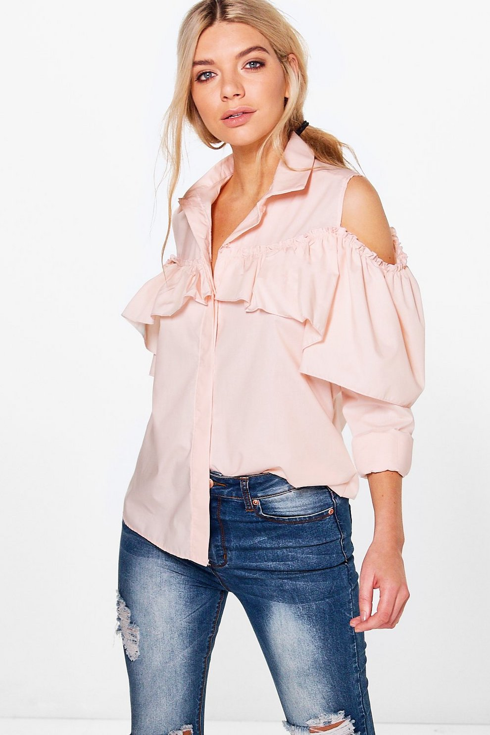 58d8b24d1a5 Amy Long Sleeve Frill Detail Cold Shoulder Shirt | Boohoo
