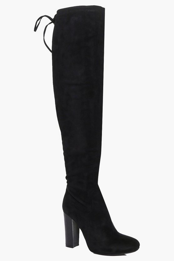 Stretch Over Knee Boot With Lace Details