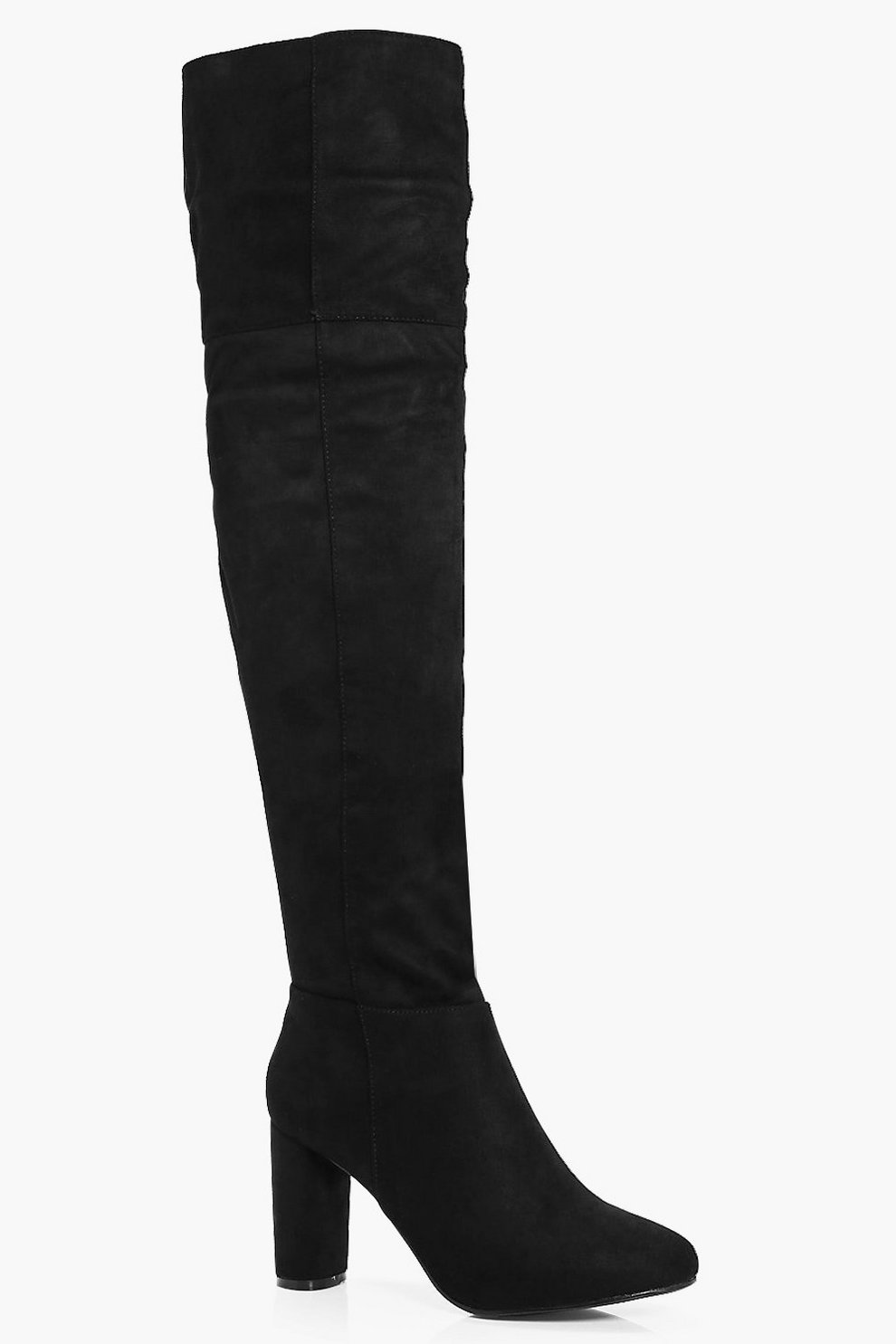 5d503288ba Darcey Block Heel Thigh High Boot | Boohoo