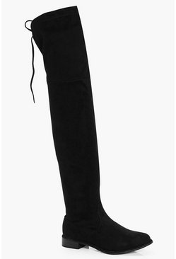 Womens Black Flat Tie Back Thigh High Boots