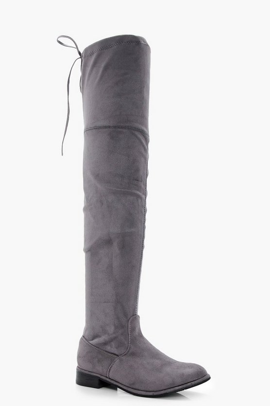Grey Flat Tie Back Thigh High Boots