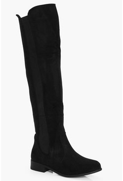 Womens Black Flat Knee High Boots