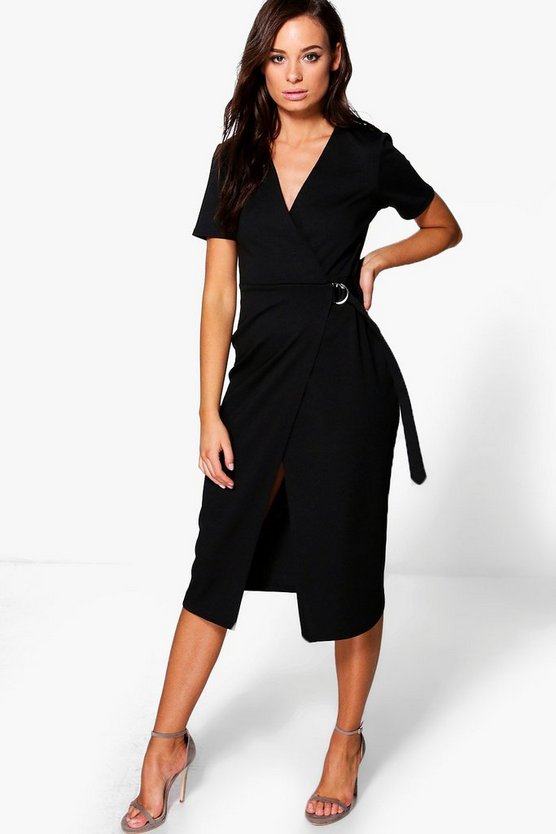 Daisy D Ring Tailored Wrap Over Ponte Dress