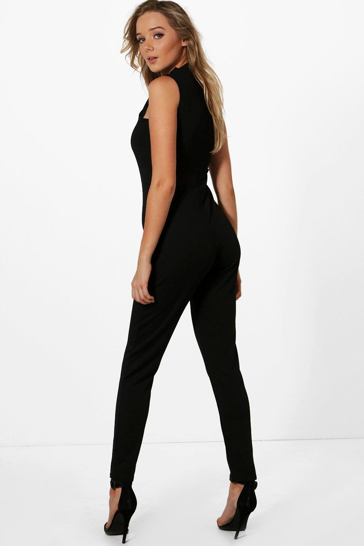 boohoo damen elegant geschnittener jumpsuit mit kragenbindung ebay. Black Bedroom Furniture Sets. Home Design Ideas