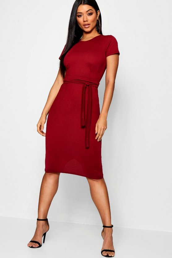 Womens Berry Pleat Front Belted Tailored Midi Dress