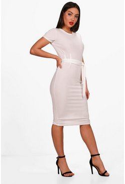 Cream Pleat Front Belted Tailored Midi Dress