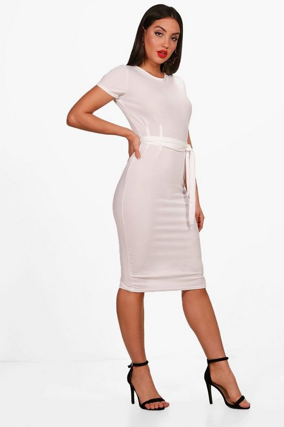 Womens Cream Pleat Front Belted Tailored Midi Dress