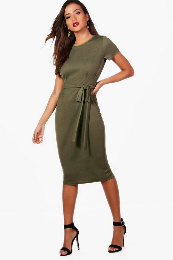 Womens Khaki Pleat Front Belted Tailored Midi Dress