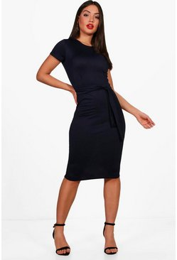 Navy Pleat Front Belted Tailored Midi Dress