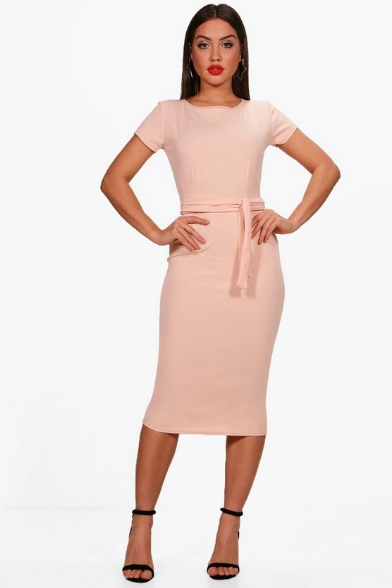 Womens Nude Pleat Front Belted Tailored Midi Dress