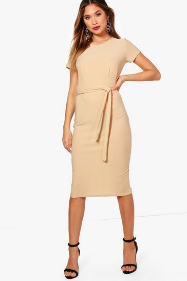 Womens Stone Pleat Front Belted Tailored Midi Dress