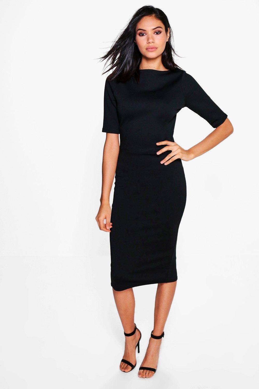 ba58e25ac7e4 Womens Black Emma Cap Sleeve Split Tailored Midi Dress