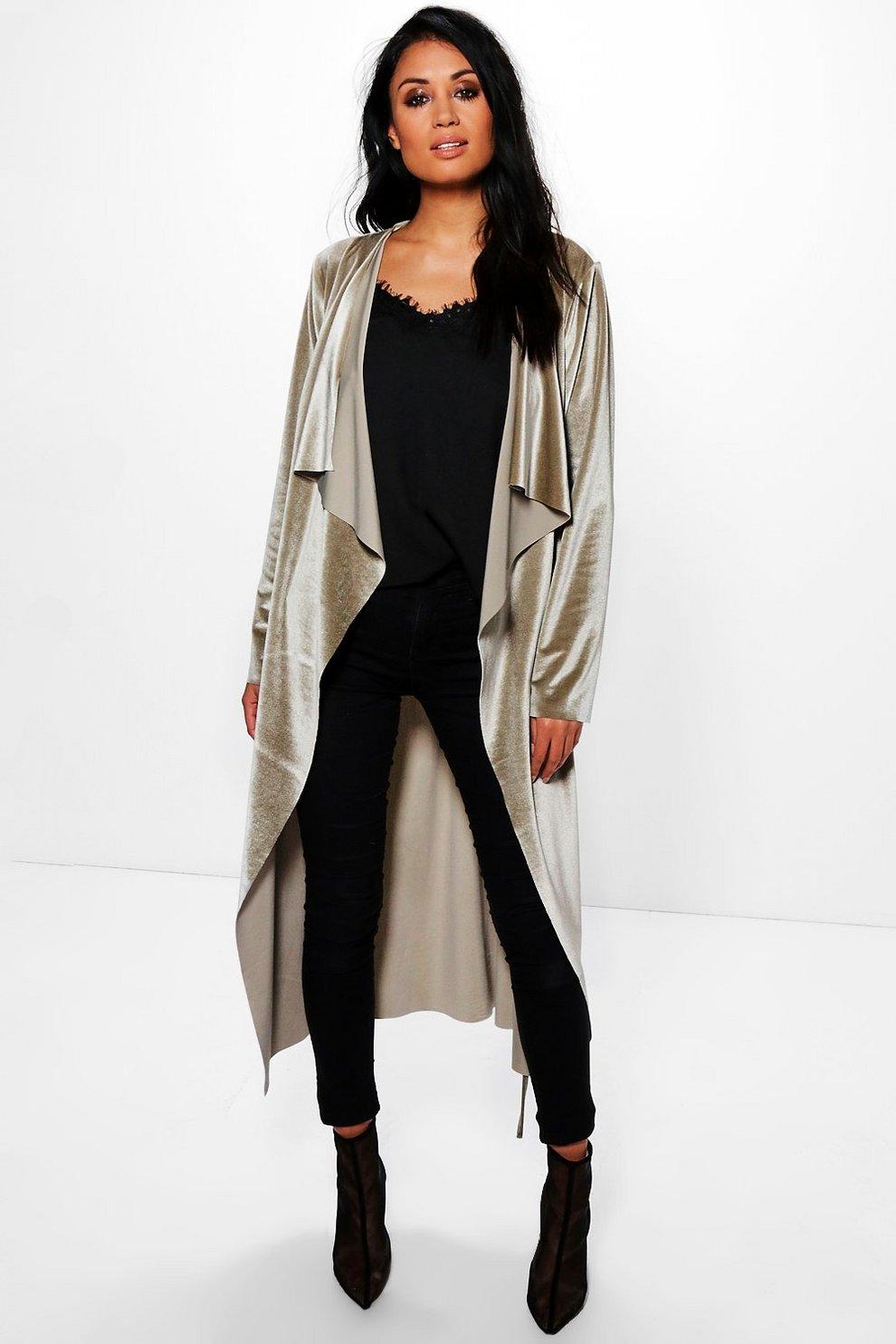49afbc16ff9e9e rubie manteau ample long effet cascade en velours avec ceinture | Boohoo
