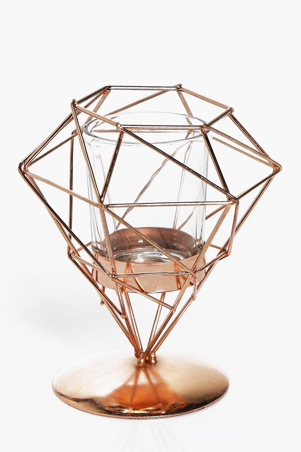 Copper Pyramid Candle Holder With Stand | Boohoo