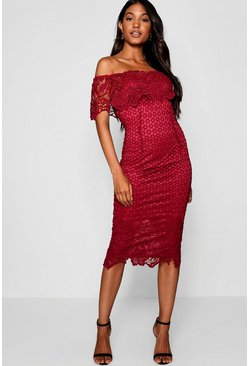 Berry Boutique Lace Off Shoulder Midi Dress