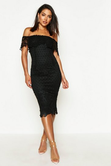 Womens Black Boutique Lace Off Shoulder Midi Dress