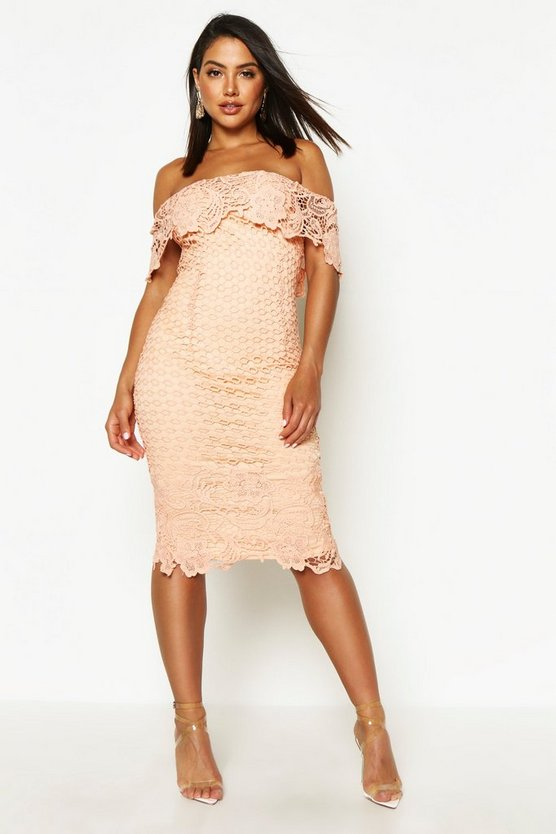 Boutique Lace Off Shoulder Midi Dress
