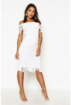 Womens Ivory Boutique Lace Off Shoulder Midi Dress