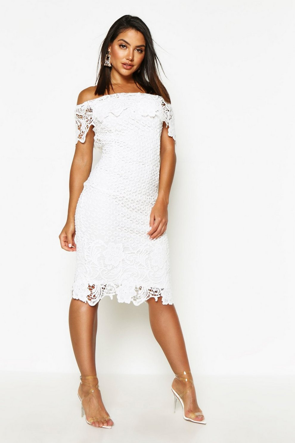 a7531e79d92 Womens Ivory Boutique Lace Off Shoulder Midi Dress