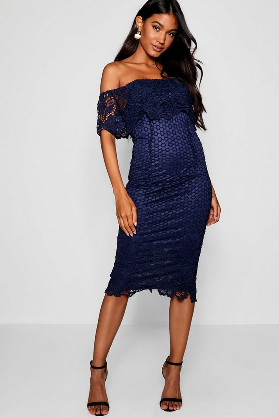 Womens Navy Boutique Lace Off Shoulder Midi Dress
