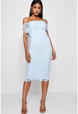 Sky Boutique Lace Off Shoulder Midi Dress